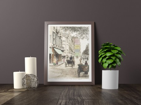 Paris wall art RUE BASSE REMPART lithograph french antique