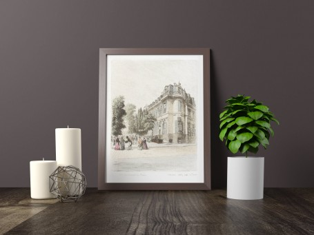 Paris wall art CAFE DE PARIS lithograph french antique