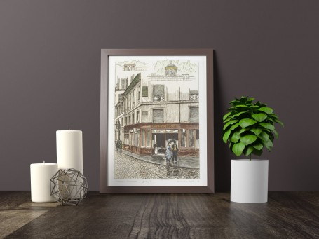 Paris wall art JARDIN TURC lithograph french antique