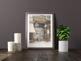 Paris wall art PASSAGE OPERA lithograph french antique