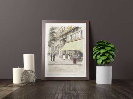 Paris wall art PASSAGE PANORAMA lithograph french antique