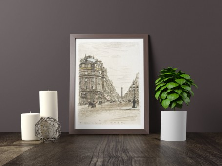 Paris wall art RUE de la PAIX lithograph french antique