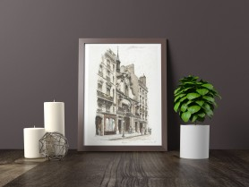 Paris wall art JOURNAL FIGARO lithograph french antique