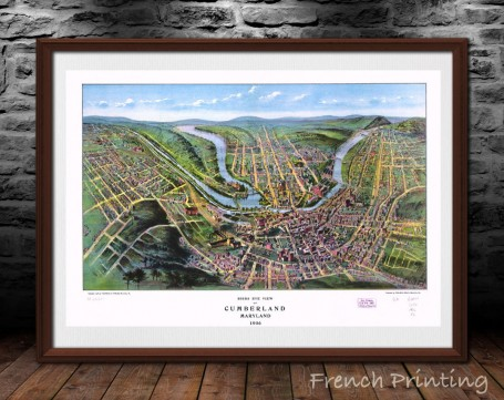 CUMBERLAND MARYLAND old city map poster print wall art