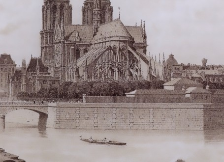 Paris Wall Art - Notre Dame 1881 - Figure 4/4 - paris bedroom decor, french country decor, gift for architect