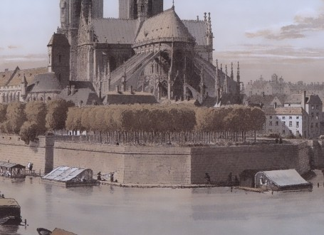 Paris Wall Art - Notre Dame 1750 - Figure 2/4 - paris bedroom decor, french country decor, gift for architect