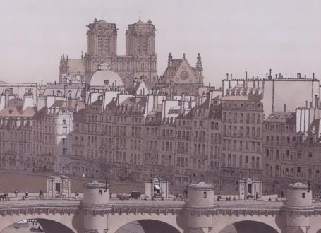 Paris Wall Art - Le Palais et la Cité 1840 - Figure 3/4 - paris bedroom decor, french country decor, gift for architect